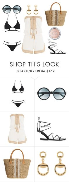 """Glamorous beach day!"" by star-lightt ❤ liked on Polyvore featuring MOEVA, Tom Ford, Anna Kosturova, Anine Bing, Skemo and Gucci"