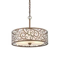Home Decorators Collection Carousel Burnished Gold Pendant with Frosted Glass Diffuser - The Home Depot 3 Light Pendant, Drum Pendant, Gold Pendant, Pendant Lighting, Chandelier Ceiling Lights, Drum Chandelier, Chandeliers, Ceiling Hanging, Hanging Lamps