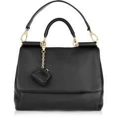 Dolce & Gabbana The Miss Sicily leather shoulder bag ($1,305) ❤ liked on Polyvore featuring bags, handbags, shoulder bags, purses, bolsas, сумки, leather coin purse, leather hand bags, black shoulder bag and black leather handbags