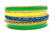 2014 Brasil World Cup Wrist Fashion Female Bracelets and Bangles.Brazil Flag Symbolic Mixed Fashion Neon  Color Bangle Set  $4.00