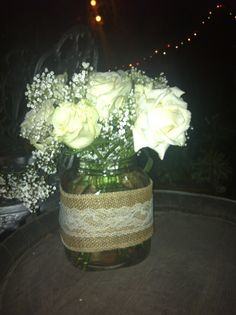 Burlap lace & cream antique roses