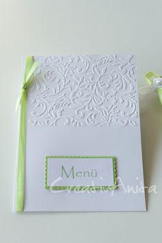 Menükarte Leaves Maigrün-Weiß