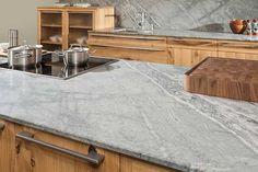 Natural stone plates Leather look - FMkitchen. Stone Kitchen, Küchen Design, Kitchen Countertops, Natural Stones, Tile Floor, Interior, Leather, Natural Plates, Home Decor