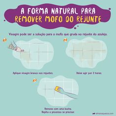 A forma natural para remover o Mofo do rejunto Weekly Cleaning, House Cleaning Tips, Diy Cleaning Products, Cleaning Hacks, Flylady, Home Hacks, How To Know, Housekeeping, Clean House