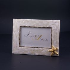 4 x 6 Mother of Pearl Starfish Picture Frame Featuring Topaz Swarovski © Crystals
