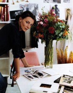 Phoebe Philo at her London atelier :  photographed by Annie Leibovitz - Pretty lady. Pretty Flowers. www.nelleandlizzy.com