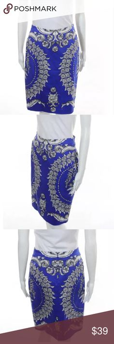 Anthropologie blue pencil skirt Sz 4 YoAna barashi blue printed pencil skirt Anthropologie Skirts Mini
