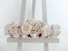 White and blush pink flower crown - floral wreath - floral headpiece - bridal crown - wedding girl crown