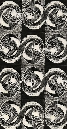 'The Tunnel' (2012) by British artist Louisa Boyd. Repeat wood engraving. via the artist on facebook