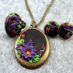 Polymer Clay Set bijuterii - pandantiv - inel - cercei - flori Jewerly - Handmade Jewerly Set - Fimo bijuterii