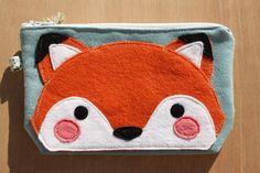 Trousse / pochette avec renard en feutrine