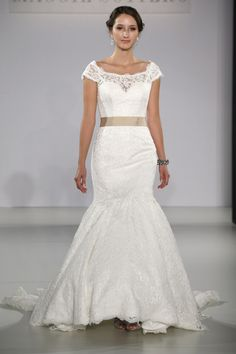Maggie Sottero - Bridal Fall 2013    TAGS:Embellished, Embroidered, Fishtail, Floor-length, Short sleeves, White, Cream, Maggie Sottero, Lace, Tulle, Glamour