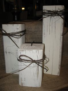 Set of 3 4x4 Distressed Candle Holders With by TallahatchieDesigns, $18.00