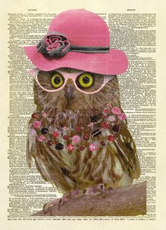 This is our exclusive design of an owl wearing a hat, glasses, and a necklace. She's so cute! This is an amazing image printed on an upcycled vintage dictionary page. We rescue old dictionaries and bo