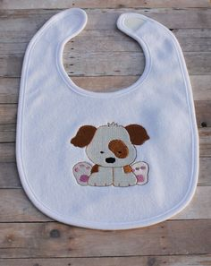 Puppy Dog Bib Personalized Embroidered Baby Girl by ChainStitchers