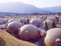 Styrofoam Dome Home. Made by Japan Dome House. Unusual Buildings, Interesting Buildings, Amazing Buildings, Amazing Architecture, Modern Architecture, Pavilion Architecture, Earthquake Proof Buildings, Foam Dome, Building Design