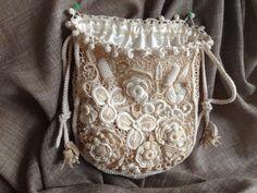Tasche, Beutel Tasche, Irish Crochet, Spitze, Boho, Retro, Hochzeit, handgemachten Schmuck, Geldbörse, Kosmetiktasche, handgefertigten Blumen, handgefertigte Taschen,