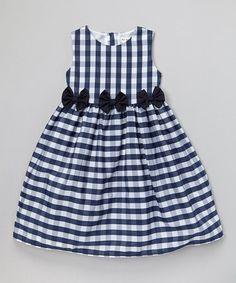 Look at this #zulilyfind! Navy Gingham Bow Dress - Infant, Toddler & Girls by Joe-Ella #zulilyfinds