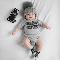 Kids Discover No Means Ask Grandma Baby Boy Girl Onesie Clothing Short Sleeve Newborn Infant Rompers Jumpsuit Mother And Baby, Mom And Baby, Cute Baby Clothes, Baby & Toddler Clothing, Garçonnet Swag, Baby Knitting, Crochet Baby, Crochet Beanie, Knitted Hats