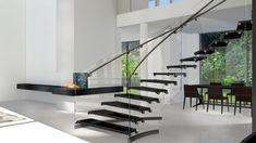 Schwebende Stufen und gebogener Grundriss. Design auf höchstem Niveau. www.sillertreppen.com Glass Stairs, Floating Stairs, Stainless Steel Staircase, Cantilever Stairs, Modern Stairs, Modern Glass, Modern Architecture, Kitchen Design, Home Decor