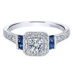 14K White Gold .56cttw Vintage Diamond and Sapphire Halo Engagement Ri | Mullen Jewelers