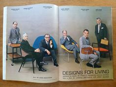"""""""Unfettered by dogma, the creators of contemporary American furniture have a flair for combining functionalism with esthetics enjoyment"""" - John Anderson, Designs for Living - Playboy Magazine, July 1961. George Nelson, Edward Wormley, Eero Saarinen, Harry Bertoia, Charles Eames and Jens Risom. #design #moma #functionalism #esthetics"""