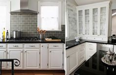 Wonderful color backsplash with those cabinets and worktop