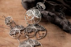 "Sterling Silver Filigree Earrings ""Rising Sun"", Handmade Traditional Jewellery"