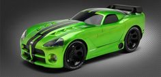 Customizable toy car @ RIDEMAKERZ!  Dodge Viper - Fang Green. Build the venomous roadster!
