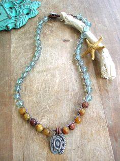 Boho crochet necklace Bohemian jewelry - Beach Retreat - pendant necklace bronze flower, leather, aqua jade beach jewelry, sundance
