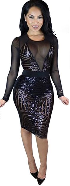 online shopping for Kearia Women Sexy Black Sequin Mesh Splice Long Sleeves  Clubwear Party Midi Dress from top store. See new offer for Kearia Women  Sexy ... cd25ca211