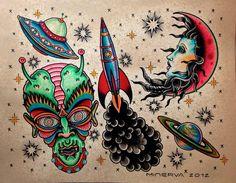 traditional alien tattoo flash - Google Search | tattoo ideas ...