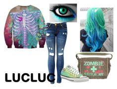 """Multi-color Monster"" by bikergal98 on Polyvore featuring Converse and lucluc"