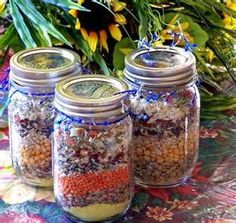Meals in Jars...the lady may be a little obsessed with doomsday prep...but these are good ideas for jar gifts. :-P