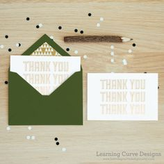 Gold Foil Thank You Card with Dark Green by LearningCurveDesigns, $4.00