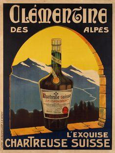 Clémentine des Alpes, l'exquise Chartreuse Suisse - 1910's - Vintage Labels, Vintage Ads, Vintage Posters, Vevey, Retro Poster, Retro Ads, Fürstentum Liechtenstein, Original Vintage, Band Posters