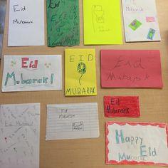 Eid Mubarak cards made by 6th graders for 6th graders. #ISCJ #eidmubarak #eideladha
