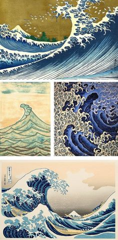 Waves are very common in the style of Japanese tattoos. I could use this to help me create the effect of waves when designing my own tattoos. No Wave, Japanese Waves, Japanese Prints, Japanese Style, Mens Hip Tattoos, Sleeve Tattoos, Maori Tattoos, Tribal Turtle Tattoos, Hip Tattoo Designs