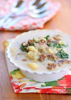 Zuppa Toscana- leave on potato skin- easier! :D