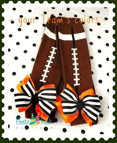 Football baby girl leg warmers, order them without bow for newborn or toddler boy, by FiestaKidsBoutique