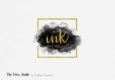 Gold Foil Geometric Frame Watercolor Logo Design for stylist and makeup artist, photography branding, restaurant logo, boutique branding, e-commerce website logo, blog logo, creative business branding or small business logo #watercolor Gold Foil #LogoDesign #EtsyShop #Wordpress #Website Header #photography #Branding #restaurant