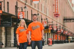 Baltimore Orioles engagement session Baltimore MD Engagement pictures at Camden Yards