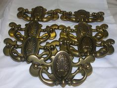 "7 Vintage 1960-70's Drawer Pull Brass Wheat Design Marked Canada 4 3/4"" X 2 1/2"""