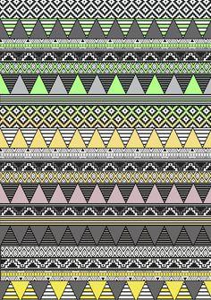 'Celadon & Hansa Yellow' geometric pattern by Vasare Nar