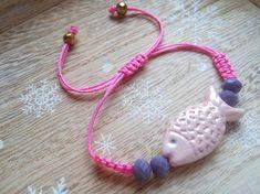 Ceramic Bead Bracelet Fish Bracelet Beaded Bracelet Macrame I Love Jewelry, Unique Jewelry, Ceramic Beads, Handmade Jewelry, Handmade Gifts, Macrame, Beaded Bracelets, Hoop Earrings, Fish