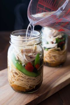 Healthy Homemade Instant Noodles (Sesame Ginger): easy make-ahead work lunch idea with whole wheat pasta, fresh vegetables and chicken.