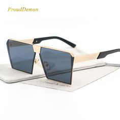 0765781d0b1b4 Fashion Brand Designer Square Flat lens Sun Glasses Mirror Women Sunglasses  Men Hip Hop Oversized Lady Eyeglasses Male FDA UV400-in Sunglasses from  Men s ...