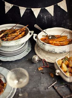 Roasted Sweet Potatoes and Parsnips with Nutmeg, Garlic and Honey from Katie Quinn Davies