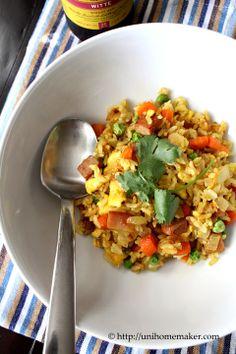 {Asia} Curry Spam Fried Rice #recipe #friedrice #spam via unihomemaker.com