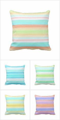 Watercolor Stripes Pattern. Decorative, classy, trendy and pretty colored outdoor throw pillows by Cozy Livin Designs. Bright colors for the artistic exterior decorator, or the hip artsy trendsetter. Create a fun, vibrant and colorful outdoor environment with these fashionable decor accents with bold and vibrant colors. Perfect for those who love decorating or want to refresh the look of their outside living space, poolside, patio, deck or porch.